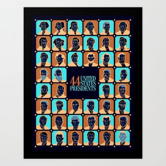 44 U.S. Presidents Art Print