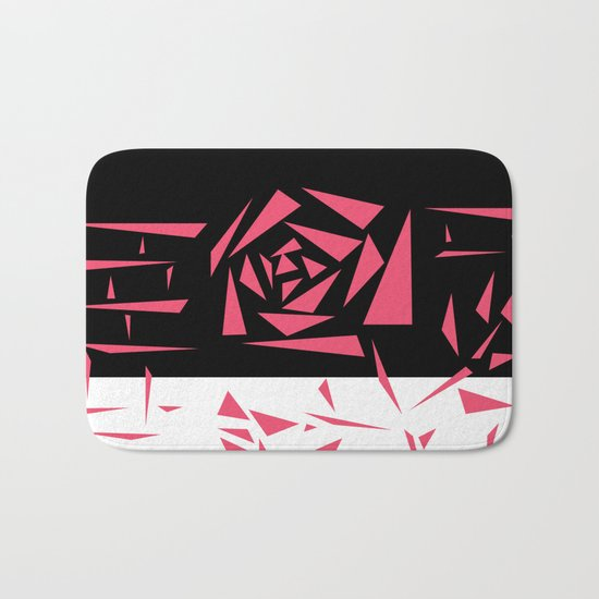 Abstract rose. black and white red . Bath Mat