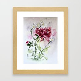 Peonies and Daisies Framed Art Print