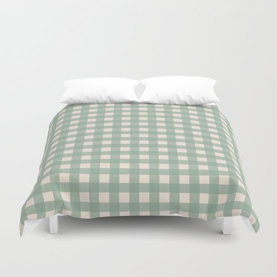 Buffalo Checks Plaid in Sage Green on Cream by fischerfinearts