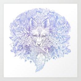 Pastel Purple Hiding Fox Drawing Art Print