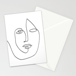 Abstract face One Line Art Stationery Cards