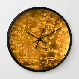 Golden water bubbles closeup macro with blurry effects Wall Clock