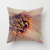 peony Throw Pillows featuring peony by inourgardentoo