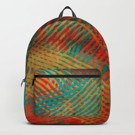 Red and Turquoise Weave Backpack