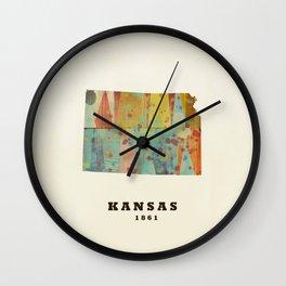 Kansas state map modern Wall Clock