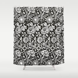 """William Morris Floral Pattern   """"Pink and Rose"""" in Black and White   Vintage Flower Patterns   Shower Curtain"""