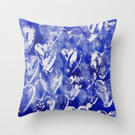 Hearts in blue and white Throw Pillow