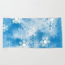 Christmas Elements Blue White Snowflakes Design Pattern Beach Towel