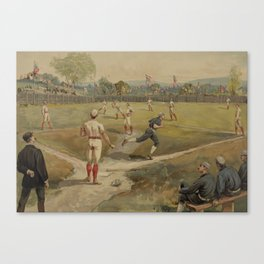 Vintage Painting of a Baseball Game (1887) Canvas Print