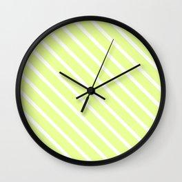 Lemongrass Diagonal Stripes Wall Clock