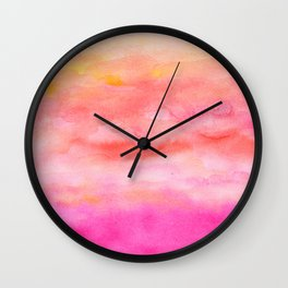 Bright pink orange sunset watercolor hand painted Wall Clock