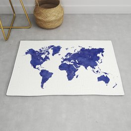 Vintage navy blue world map Rug