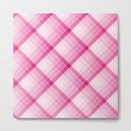 Pink Geometric Squares Diagonal Check Tablecloth Metal Print