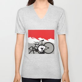 Cyclocross Athlete Running Carrying Bike Alps Retro Unisex V-Neck