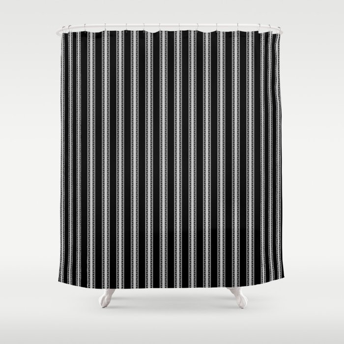 Black And White English Rose Trellis On Mattress Ticking Stripe Shower Curtain
