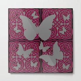 Grey Mystic Butterflies Burgundy Purple Celtic Art Metal Print