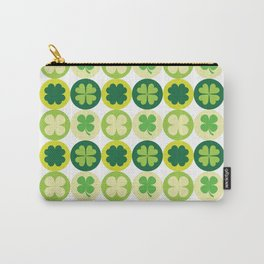 Lucky Irish Four Leaf Clovers Polka Dot Pattern Carry-All Pouch