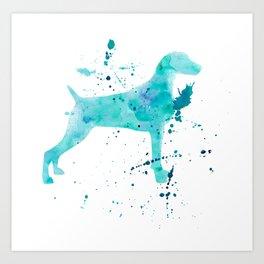 BLUE WATER WEIMARANER Art Print
