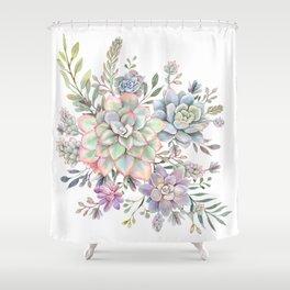Succulent Watercolor 8 Shower Curtain