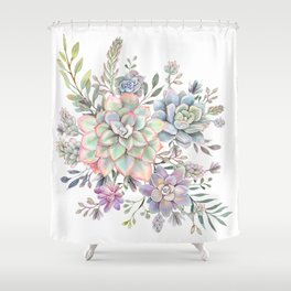 succulent watercolor 8 Shower Curtain