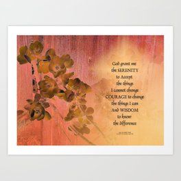 Serenity Prayer Quince and Fence One Art Print