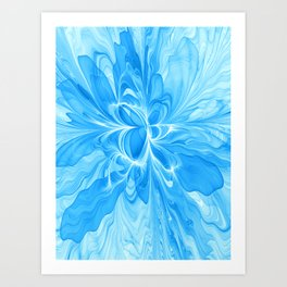Blue Jeans Colors And White, Abstract Fractal Art Art Print