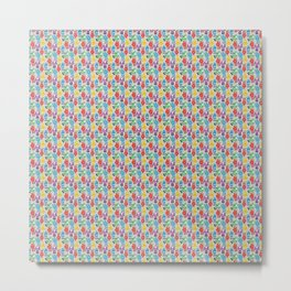 Colourful Robots Pattern on Grey Metal Print