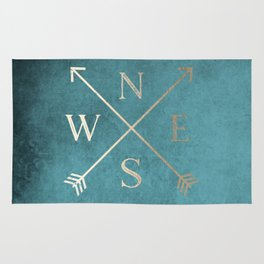 Gold on Turquoise Distressed Compass Adventure Design Rug