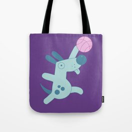 Puppy playing basketball Tote Bag