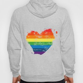 LGBT Pride Love Heart Rainbow Flag Vintage Hoody