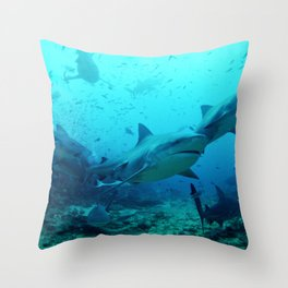 Bull Sharks Throw Pillow