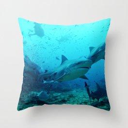 magnificent bull sharks Throw Pillow