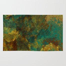 Turquoise, Gold, and Copper Abstract Rug