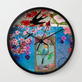 King of Cherry Blossom Wall Clock