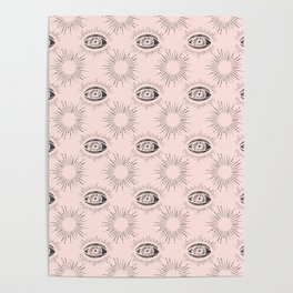 Sun and Eye of wisdom pattern - Pink & Black - Mix & Match with Simplicity of Life Poster