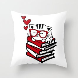 Reading Gift Funny Cat Book Reader Geek Glasses Bookworm Throw Pillow