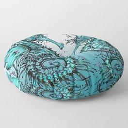 Cyan Seahorse Floor Pillow