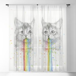 Kitten Puking Rainbows Cat Rainbow Vomit Sheer Curtain
