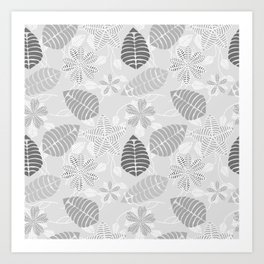 Leaf Floral Print in Black, White and Gray Art Print