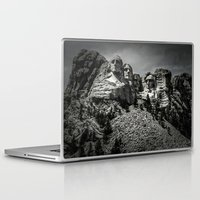 rushmore Laptop & iPad Skins featuring Mount Rushmore in Black and White by Larry J