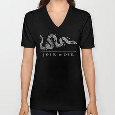 Join or Die in Black and White Unisex V-Neck
