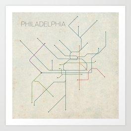 Minimal Philadephia Subway Map Art Print