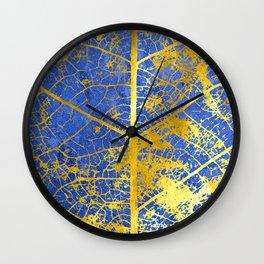 Blue gold leaf details Wall Clock