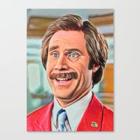 anchorman Canvas Prints featuring ANCHORMAN by i live