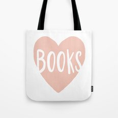 Heart Books - hand lettered Tote Bag