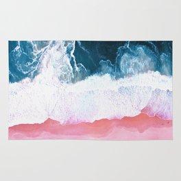 Pink Blue Ocean Aerial View Rug