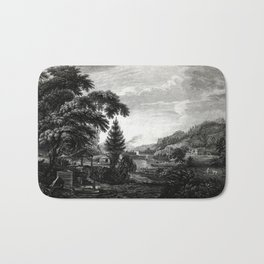 A design to represent the beginning and completion of an American settlement or farm Bath Mat
