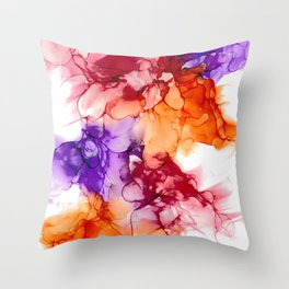 Purple Alcohol Ink Art Throw Pillow