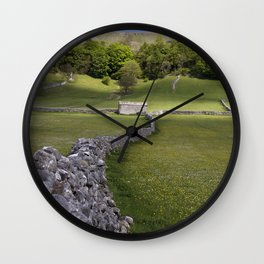 Meadows at Kettlewell, Yorkshire Dales, England Wall Clock